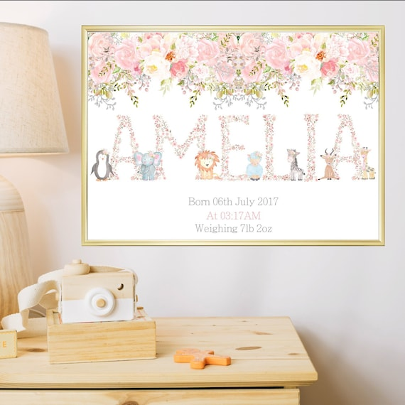 Baby Girl Personalised Name Gift Print Nursery Wall Art New Born Birth Details