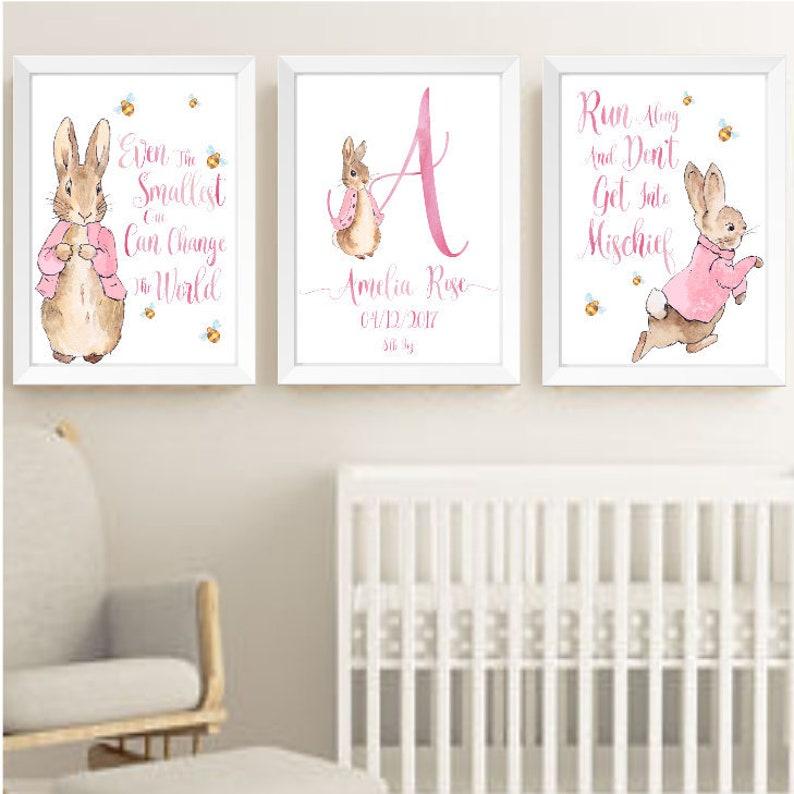 05bea69cd Pink Peter Rabbit Beatrix Potter Nursery Decor Wall Art Print | Etsy