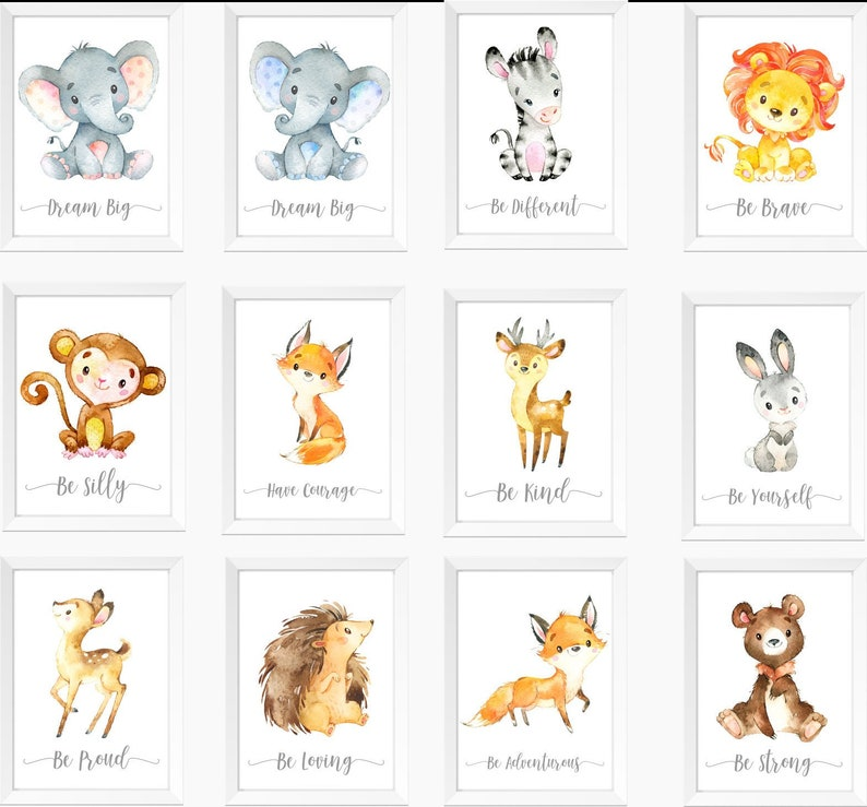 5323a617d1f Safari Jungle Animals Nursery Prints Set Watercolour Animals