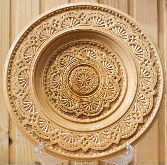 A plate with a unique design Carved handmade plate a gift for a housewarming Ukrainian style of artistic carving gift for a wedding