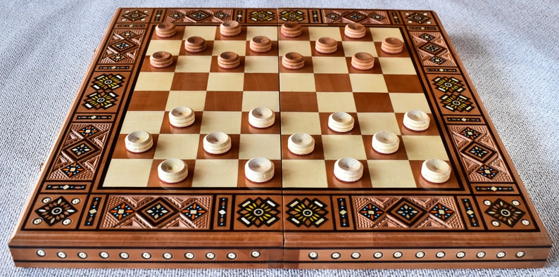 3 in 1 Chess Checkers and Backgammon inlaid wood Hand Carved Chess Set Handmade a beautiful gift for a friend