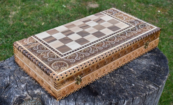 Carved Chess Set Hutsul chess inlay with metal Carved wood chess Chess game Chess gift Gift for father Gift for a friend, Outdoor gift ideas