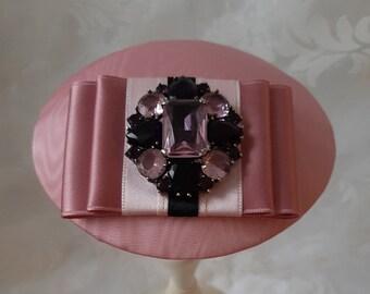 """Braut Kopfschmuck Fascinator Hut Headpiece Rosa Strass """"Louise"""" elegant festlich Hochzeit Taufe Abschlussball Jubiläum Fest Feier Party"""