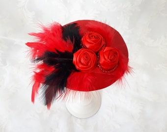 """Fascinator Rot Schwarz mit Satinblumen, Federn und Perlen """"Carmen"""" elegant festlich Taufe Jubiläum Fest Hochzeit Party Abschlussball Ball"""
