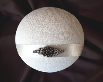"""Braut Fascinator Kopfschmuck Hut Creme Strass """"Jeanne"""" Hochzeit Taufe Feier romantisch elegant Headpiece"""