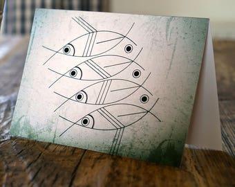 "Minimalist and modern fish art blank greeting card ""Changing perceptions"""