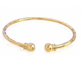 18K Gold Plated Bamboo Open Bangle from GOLDFOR10