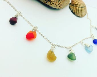 Easter jewelry gifts etsy rainbow seaglass necklacelti colored necklacerainbow necklacehandmade jewelryft for negle Image collections