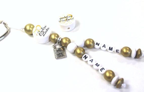 Schlüsselanhänger Mit 2 Namen Goldene Hochzeit