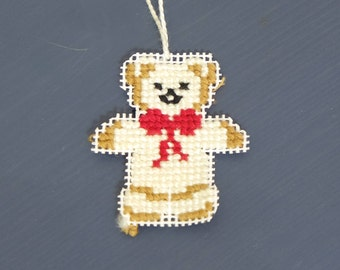 Teddy Bear Christmas | Hand embroidered in Vienna | Christmas Tree or Gift pendant