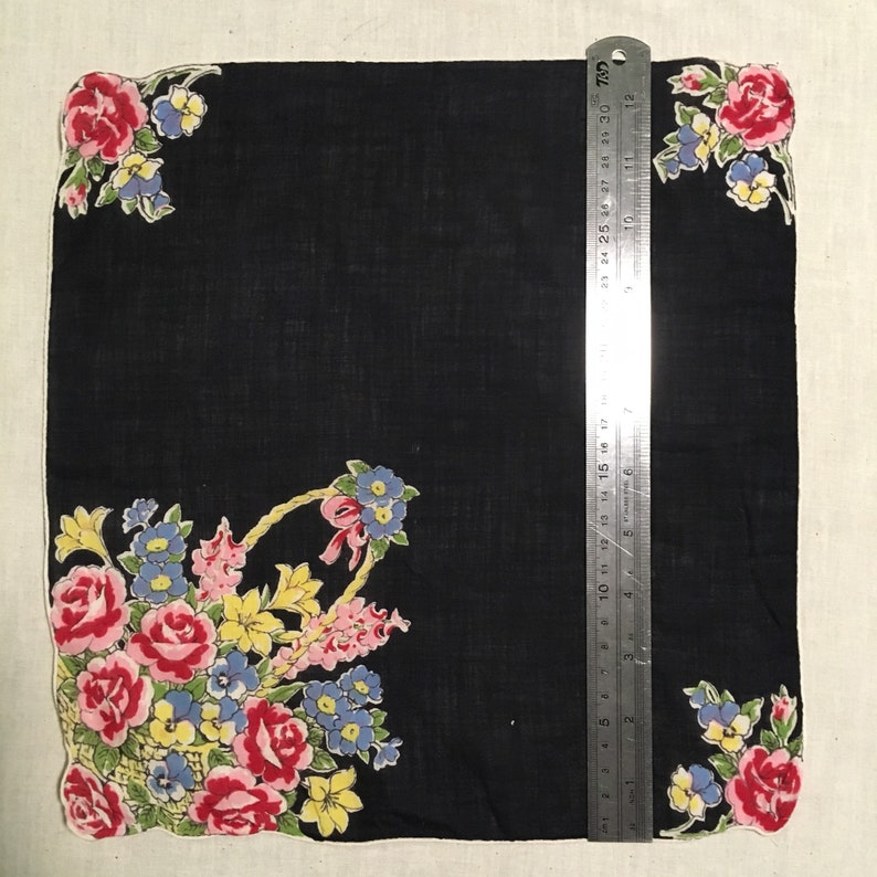 Vintage 1940s Novelty Print Cotton Handkerchief  Hankie Hanky Navy and Floral