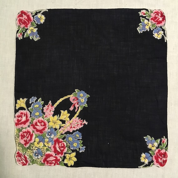 Vintage 1940s Novelty Print Cotton Handkerchief  H