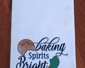 Christmas Baking Spirits Bright with a Cookie and Mitt Embroidery Design- Sizes Available 6x10 5x7 4x4 INSTANT DIGITAL DOWNLOAD