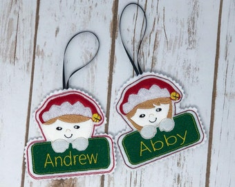 Elf Boy and Girl In The Hoop Embroidery Applique Christmas Ornaments- Sizes Available 4x4 INSTANT DIGITAL DOWNLOAD