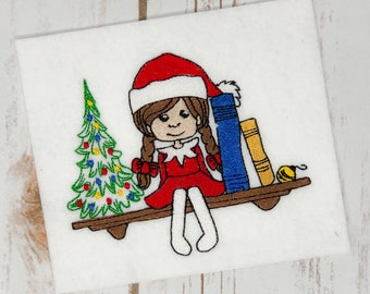 Girl Elf Sitting on a Shelf Christmas Embroidery Design- Sizes Available 6x10 5x7 4x4 INSTANT DIGITAL DOWNLOAD