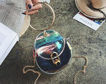 Clear Round Crossbody Bag/Colorful Mirror Symphony TPU Bag/Circle Bag/Fluorescent Shoulder Bag/Waterproof Anti Theft Bag /Gift for Her