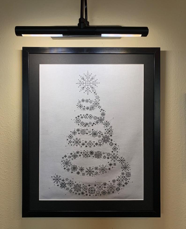 14 Count Snowflake Christmas Tree Blackwork Pattern image 1