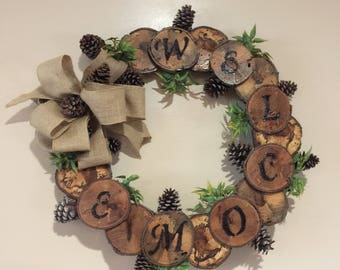 Natural Wood Wreath 10% of sale price is donated to St Jude Childrens Hospital