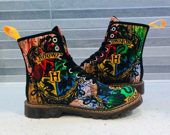 133f91d00fe6 Custom Harry Potter Themed Printed Lace Up Ankle Boots