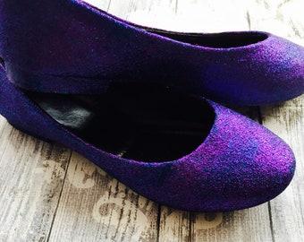Womens Twilight Effect Hand Glittered Flats