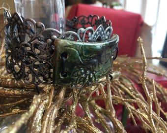 Ceramic metal boho cuff