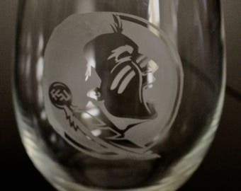Set of 2 Florida State Etched Wine Glasses, Etched Stemless Wine Glass