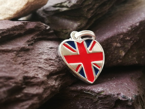 UK Union Jack Flag 925 Sterling Silver Dangle Charm Carrier Bead