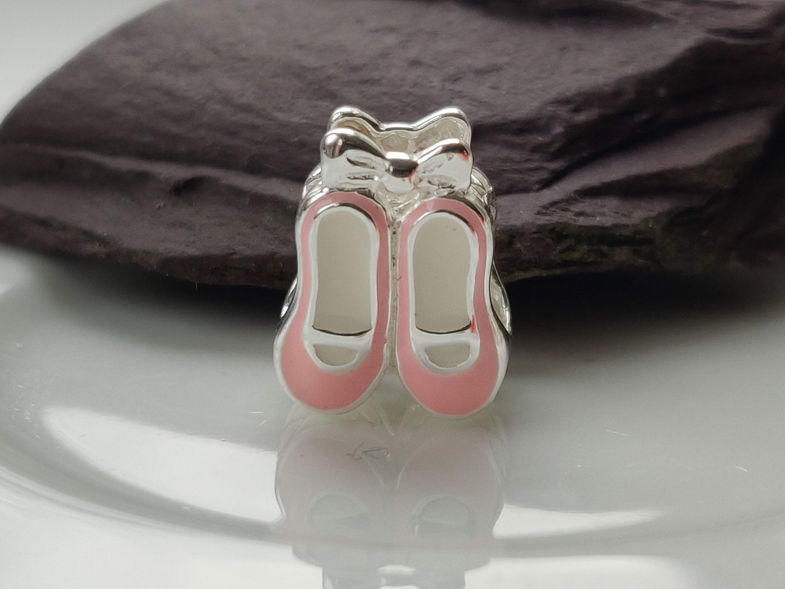 silver ballet shoes - dancing charm,ballet jewellery,silver shoe charm