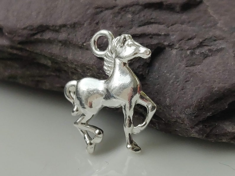 Sterling Silver Horse Charm Mare Bead Equestrian Jewelry Making Accessories Small Polished Stallion Pendant Solid Metal Animal Findings