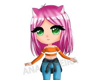 Chibi girl digital art print