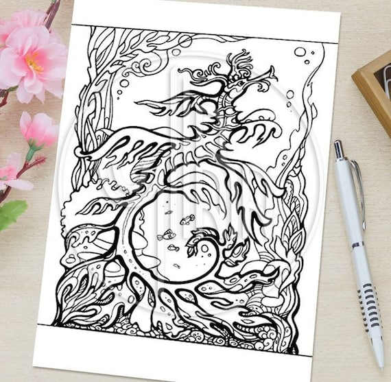 adult coloring pages anti stress colouring for adults fantasy printable lineart magic underwater world coloring book pdf art therapy