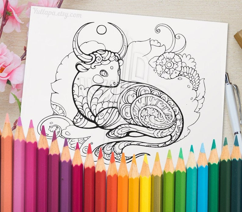 Adult coloring page Year of the Ox 2021 printable lineart ...