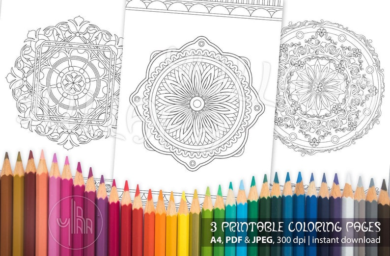 Mandala Coloring Pages For Meditation And Relaxation Printable Zentangle Colouring For Adults Instant Digital Download