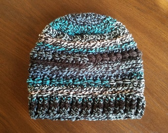Beanie Hat & Boot Cuffs, variegated blue