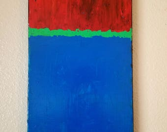 Color block blue and red/ original wall art/ abstract painting/ acrylic painting/