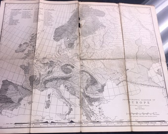 Antique Physiographic Diagram of Europe 1923 University of Wisconsin