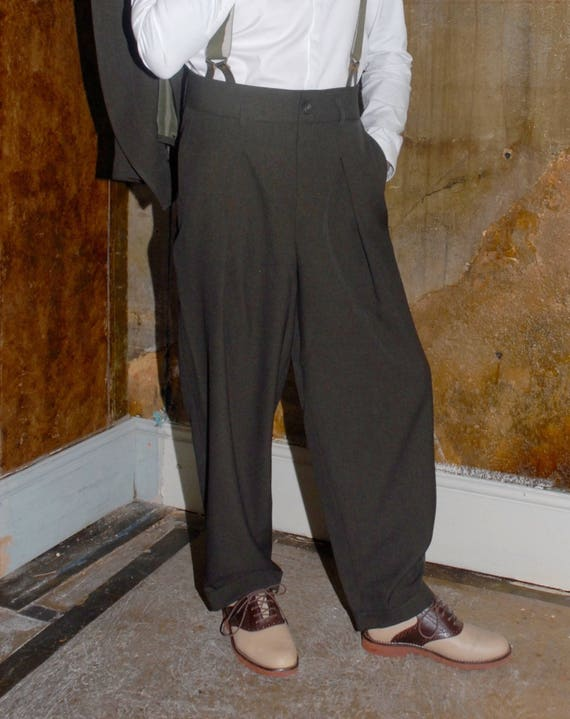 1940s Trousers, Mens Wide Leg Pants 1940s Zoot Trousers $165.26 AT vintagedancer.com