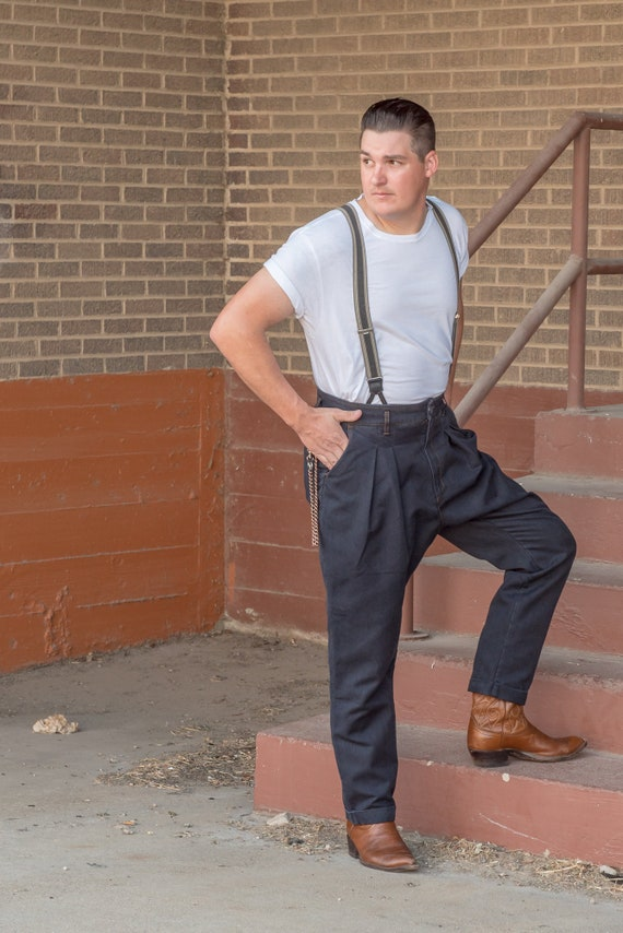 1920s Men's Clothing 1920s Buckleback Worker Trousers $125.00 AT vintagedancer.com