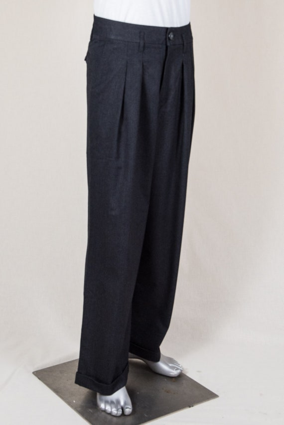 1940s Trousers, Mens Wide Leg Pants Wide-Legged Swing Trousers $165.26 AT vintagedancer.com