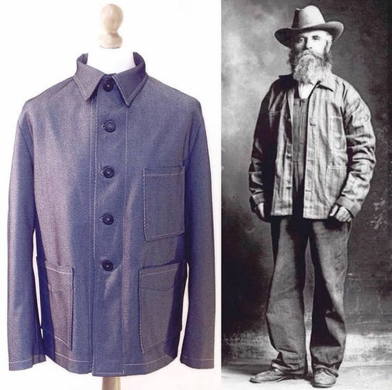 1900s Edwardian Men's Suits and Coats  1900s Engineer Replica Jacket $176.39 AT vintagedancer.com