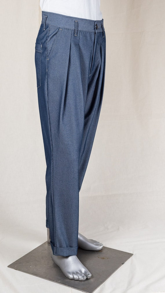 Edwardian Men's Pants, Trousers, Overalls 1920s Twill Buckleback Worker Trousers- Light Blue $169.61 AT vintagedancer.com