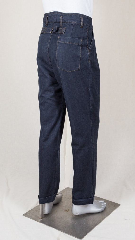 Edwardian Men's Pants, Trousers, Overalls 1920s Buckleback Worker Trousers $169.61 AT vintagedancer.com