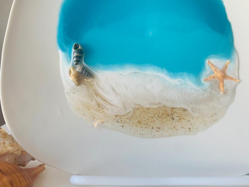 Handmade Beach Resin jewelry and trinket dish 7.5\u201d x 7.5\u201d