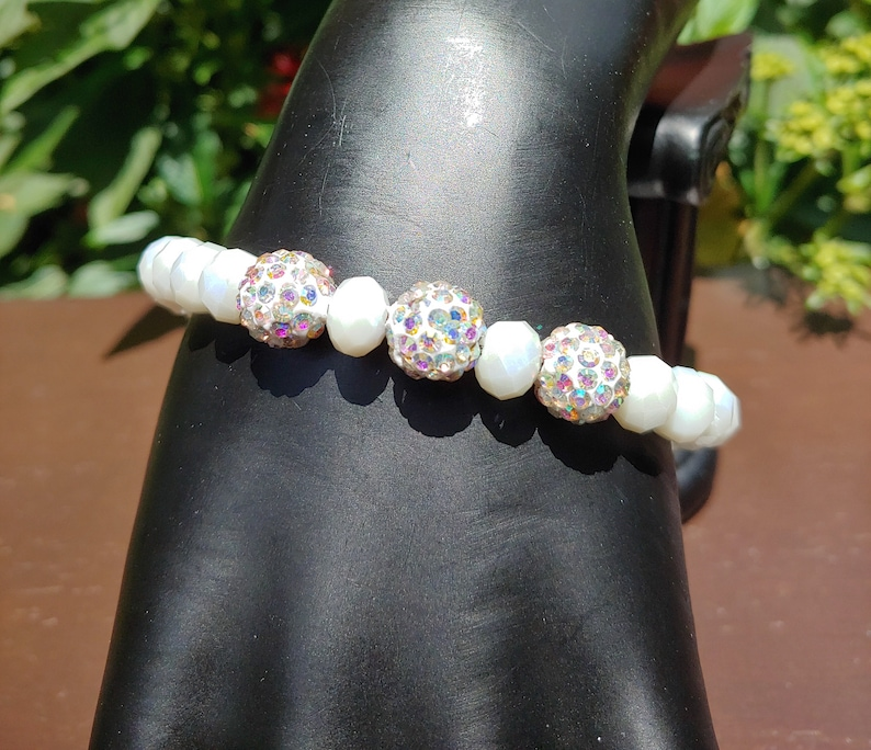 Crystal Pave and Glass Bead Stretch Bracelet Available in Various Colors for WomenRhinestone and Glass Stretch BraceletStretch Bracelet