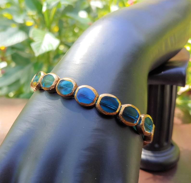You Pick Glass Stretch Bracelet Red or TurquoiseTurquoise Glass Bead BraceletRed Glass Bead BraceletGlass Bead BraceletBead Bracelet