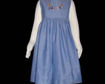 Girls summer dress, Embroidered, 100% Cotton, Blue Chambray, Age 4