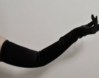"""26"""" Buttoned Opera Gloves, Black - Full length, High quality, Satin gloves with Buttons at wrists (burlesque gloves, long gloves)"""