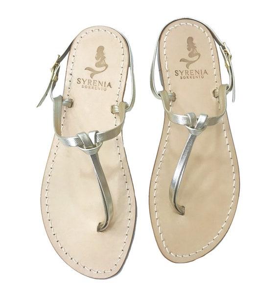 Flat handmade Sandals Handmade in Italy Silver Capri Sandals