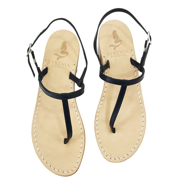 Black Italyetsy Flat Sandals Handmade P0wxokn8 Capri In Leather j5ALq4R3