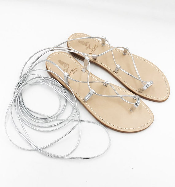 Silver Gladiators sandals Lace up